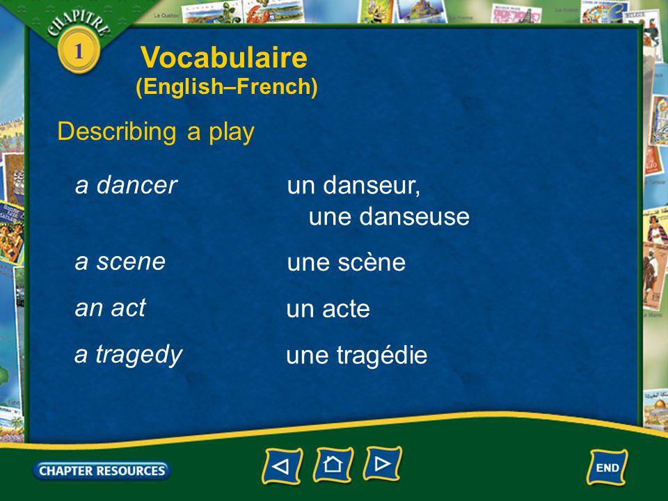 1 Describing a play un théâtre une pièce un acteur, une actrice a theater a play an actor, an actress un chanteur, une chanteuse a singer Vocabulaire