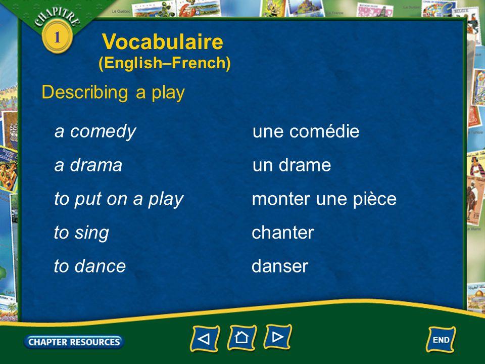 1 Describing a play un danseur, une danseuse une scène a dancer a scene un acte an act une tragédie a tragedy Vocabulaire (English–French)