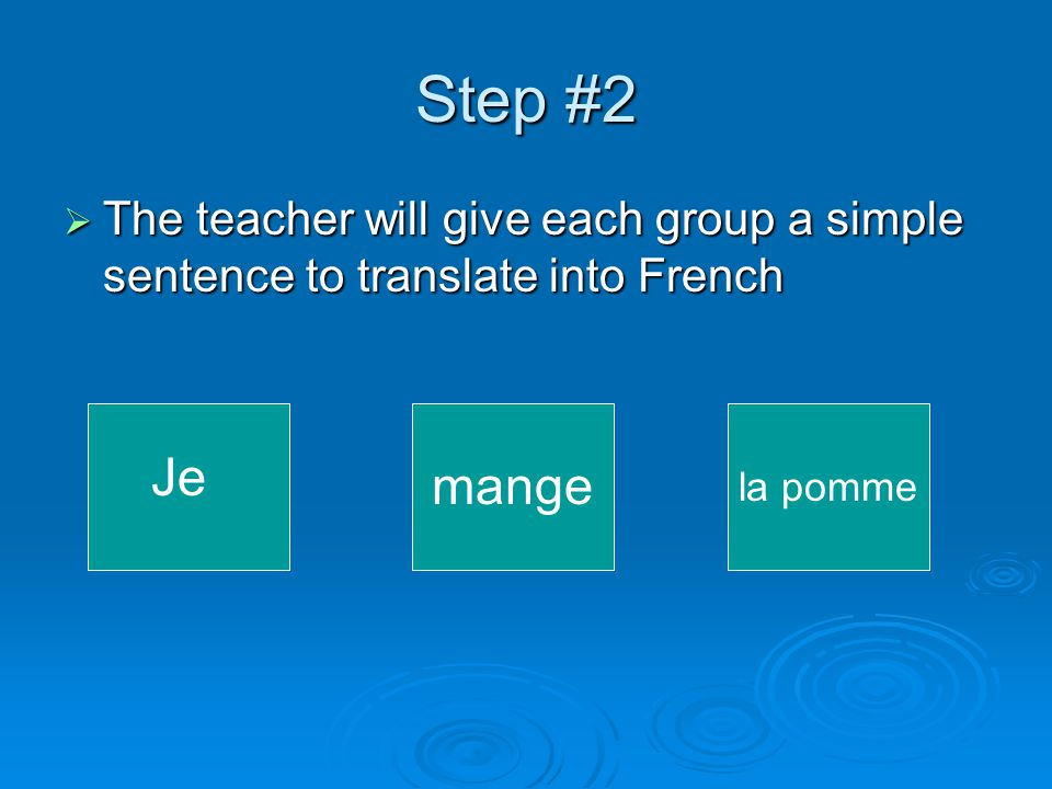 Step #2  The teacher will give each group a simple sentence to translate into French Je mange la pomme