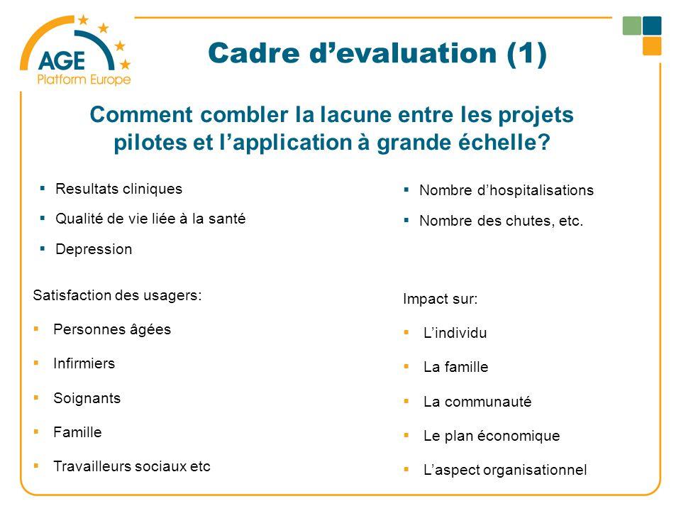Cadre d'evaluation (1)  Resultats cliniques  Qualité de vie liée à la santé  Depression Comment combler la lacune entre les projets pilotes et l'application à grande échelle.
