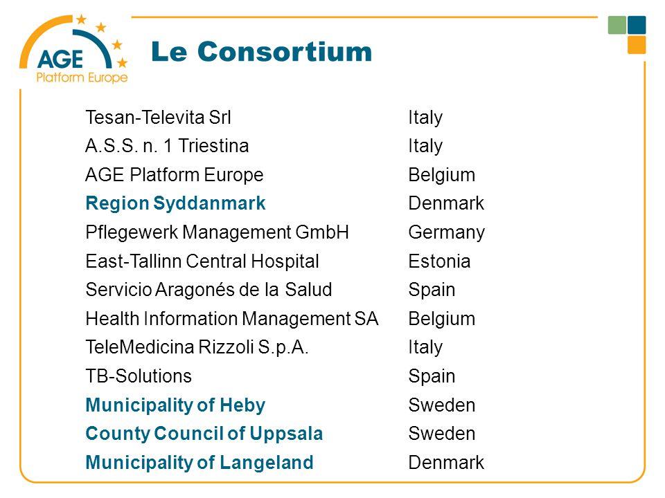Le Consortium Tesan-Televita SrlItaly A.S.S. n. 1 TriestinaItaly AGE Platform EuropeBelgium Region SyddanmarkDenmark Pflegewerk Management GmbHGermany
