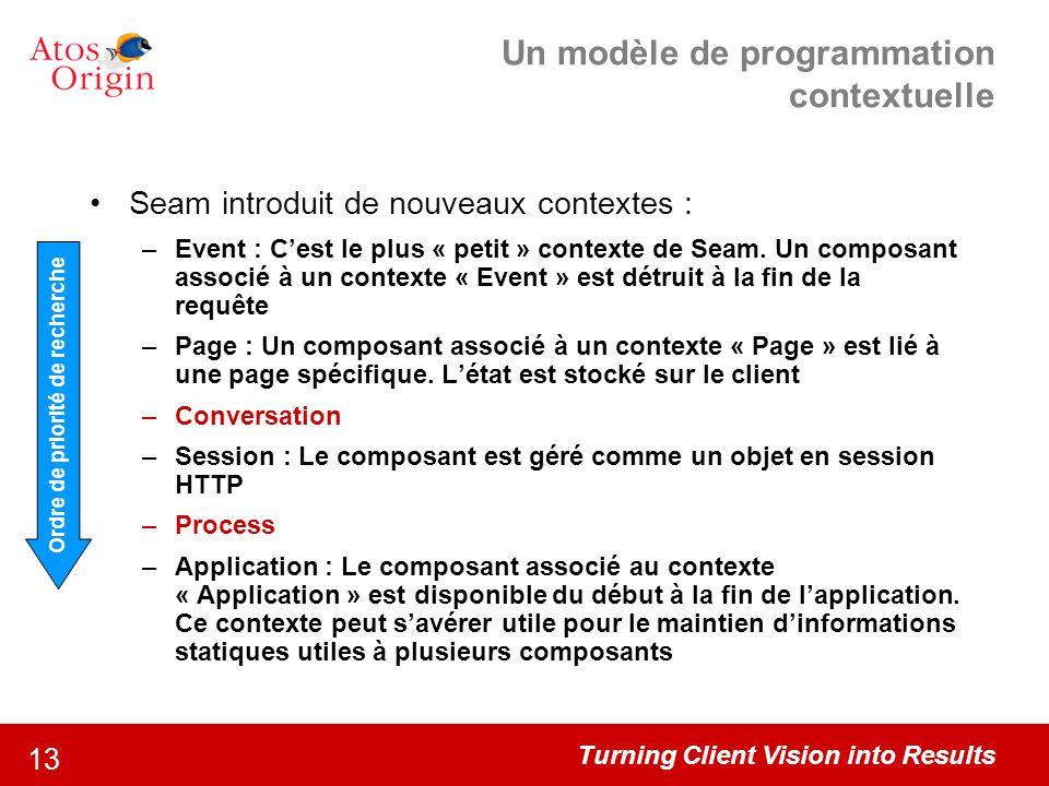 Turning Client Vision into Results 13 Un modèle de programmation contextuelle Seam introduit de nouveaux contextes : –Event : C'est le plus « petit »