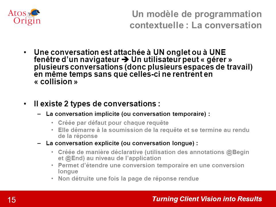 Turning Client Vision into Results 15 Un modèle de programmation contextuelle : La conversation Une conversation est attachée à UN onglet ou à UNE fen