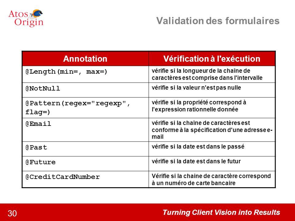 Turning Client Vision into Results 30 Validation des formulaires AnnotationVérification à l'exécution @Length(min=, max=) vérifie si la longueur de la