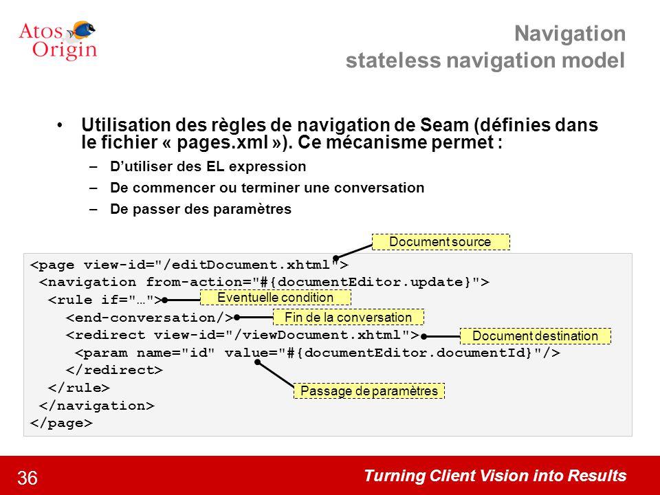 Turning Client Vision into Results 36 Navigation stateless navigation model Utilisation des règles de navigation de Seam (définies dans le fichier « p