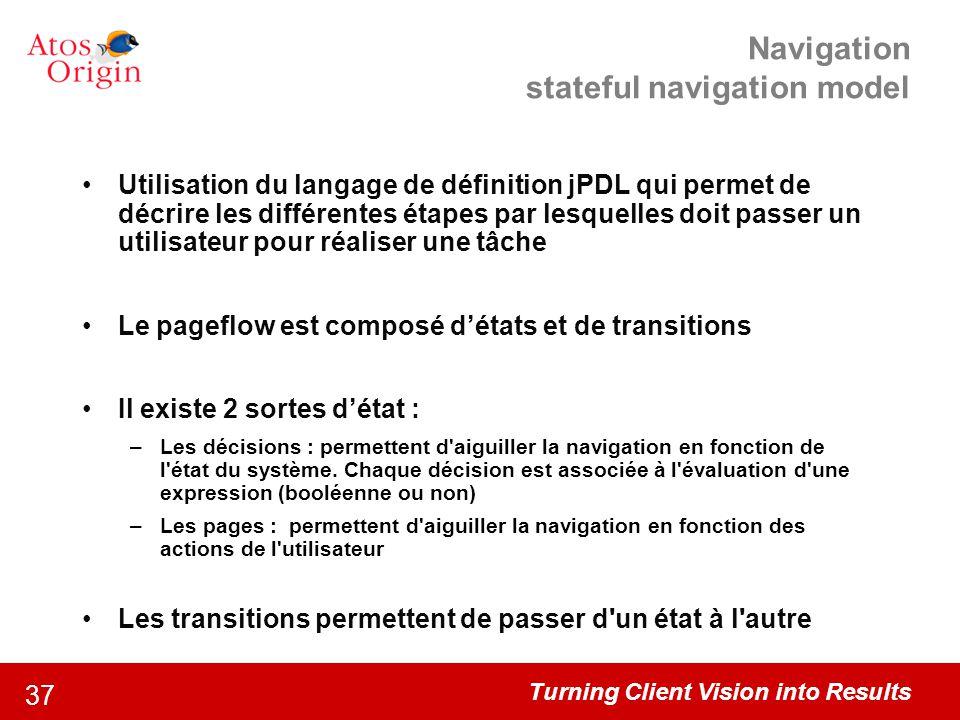 Turning Client Vision into Results 37 Navigation stateful navigation model Utilisation du langage de définition jPDL qui permet de décrire les différe