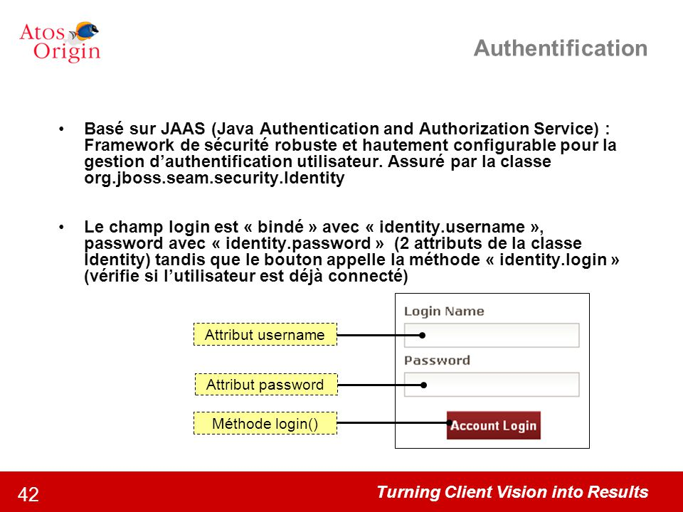 Turning Client Vision into Results 42 Authentification Basé sur JAAS (Java Authentication and Authorization Service) : Framework de sécurité robuste e
