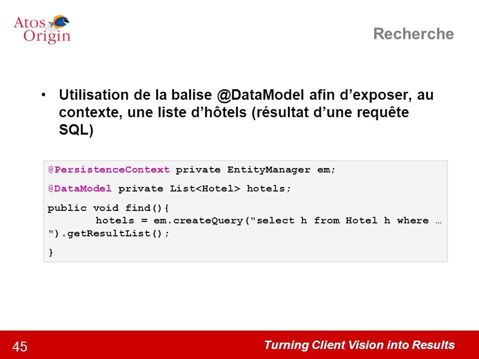 Turning Client Vision into Results 45 Recherche Utilisation de la balise @DataModel afin d'exposer, au contexte, une liste d'hôtels (résultat d'une re