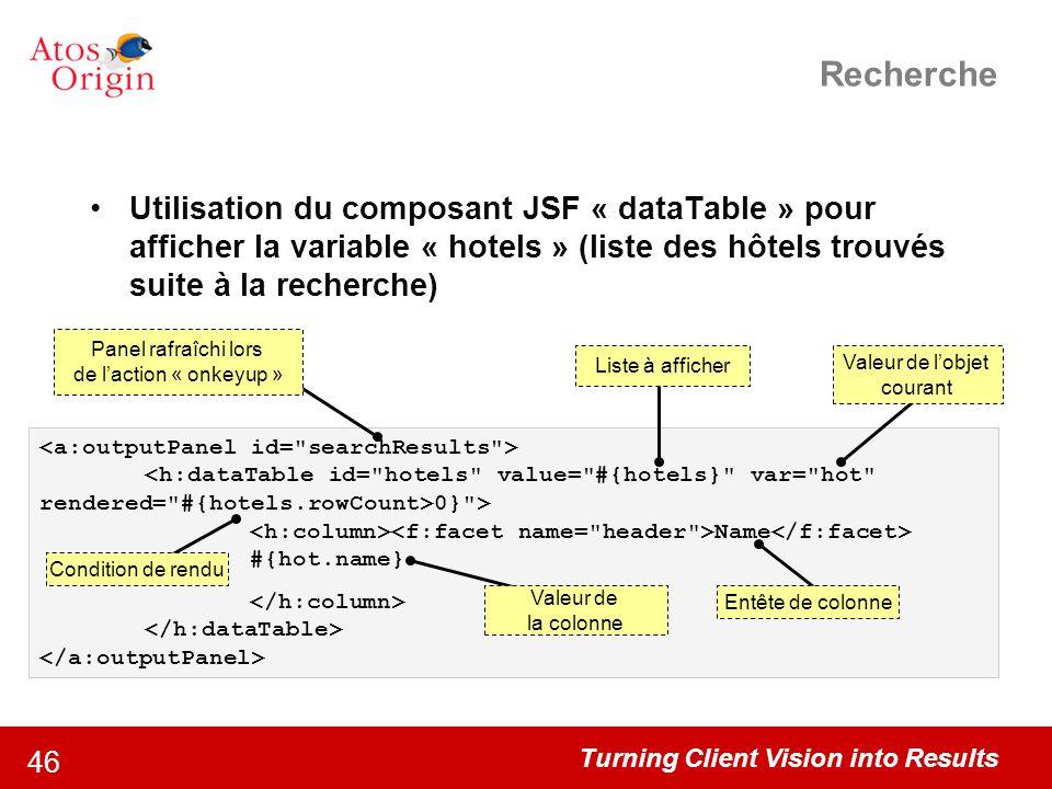 Turning Client Vision into Results 46 Recherche Utilisation du composant JSF « dataTable » pour afficher la variable « hotels » (liste des hôtels trou