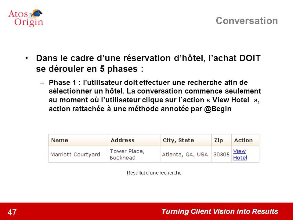 Turning Client Vision into Results 47 Conversation Dans le cadre d'une réservation d'hôtel, l'achat DOIT se dérouler en 5 phases : –Phase 1 : l'utilis