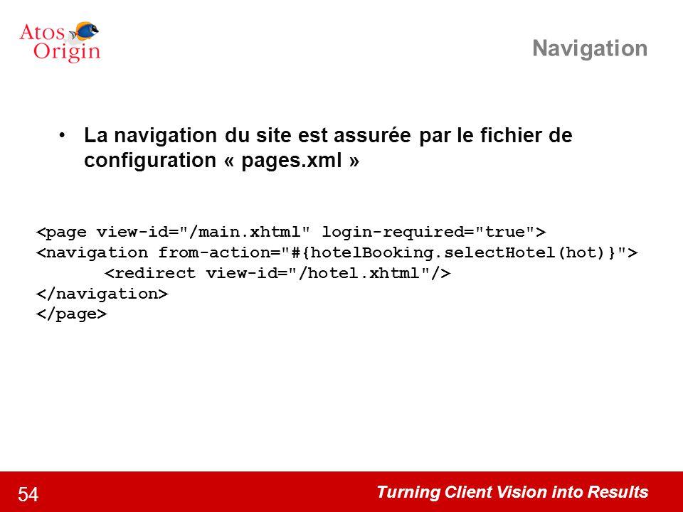 Turning Client Vision into Results 54 Navigation La navigation du site est assurée par le fichier de configuration « pages.xml »