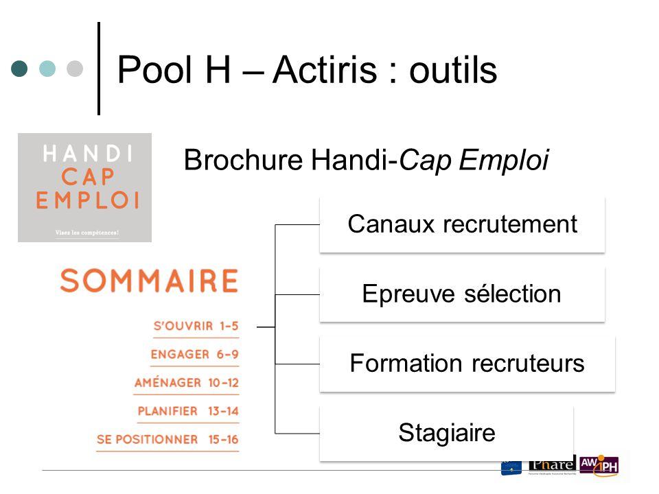 Brochure Handi-Cap Emploi Pool H – Actiris : outils Canaux recrutement Epreuve sélection Formation recruteurs Stagiaire