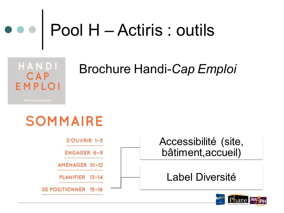 Brochure Handi-Cap Emploi Pool H – Actiris : outils Accessibilité (site, bâtiment,accueil) Label Diversité