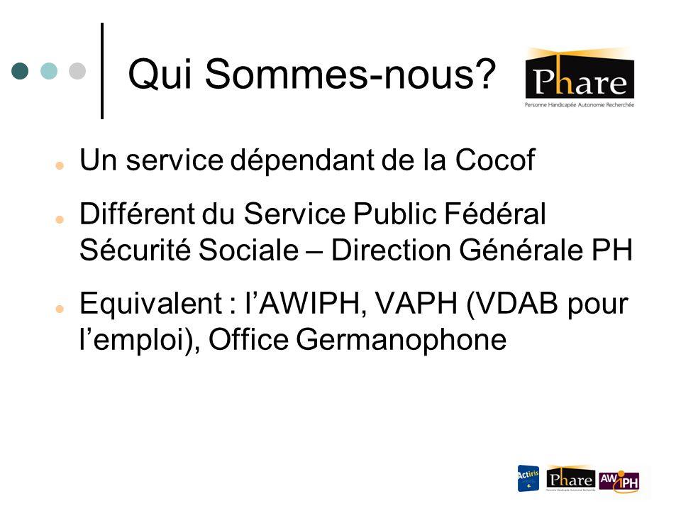 Qui Sommes-nous? Un service dépendant de la Cocof Différent du Service Public Fédéral Sécurité Sociale – Direction Générale PH Equivalent : l'AWIPH, V