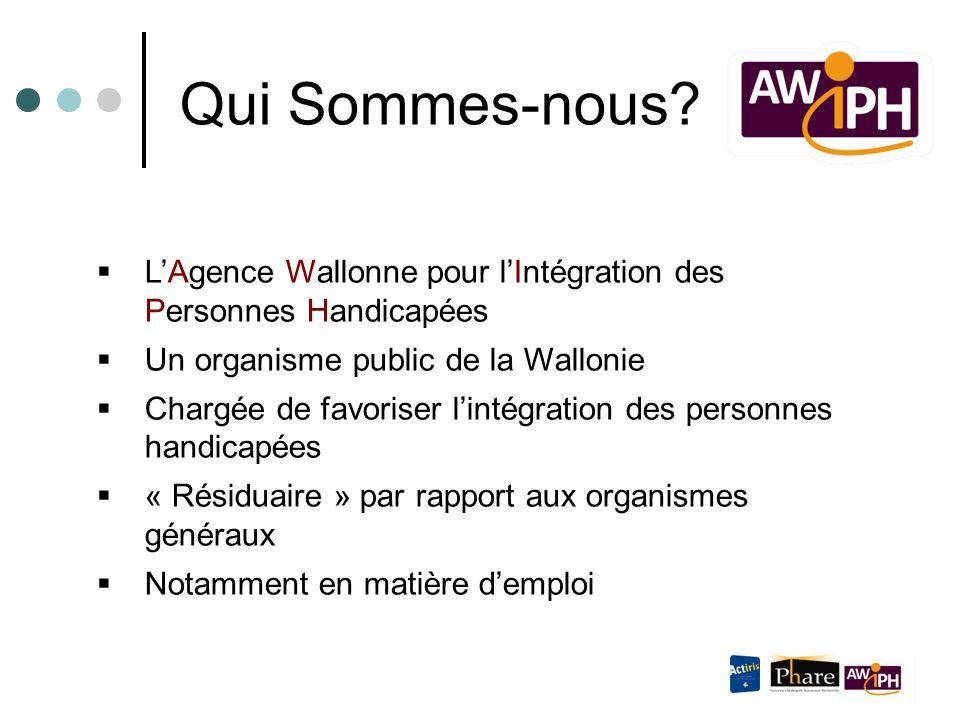  L'Agence Wallonne pour l'Intégration des Personnes Handicapées  Un organisme public de la Wallonie  Chargée de favoriser l'intégration des personn