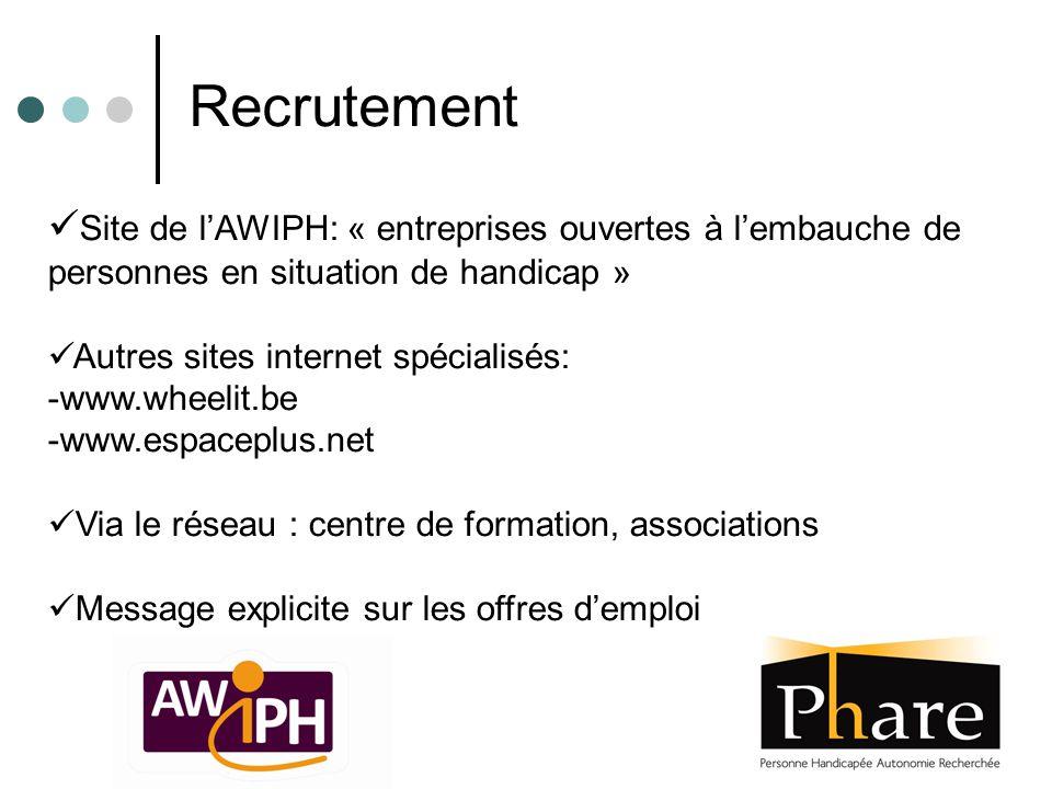 Site de l'AWIPH: « entreprises ouvertes à l'embauche de personnes en situation de handicap » Autres sites internet spécialisés: -www.wheelit.be -www.e