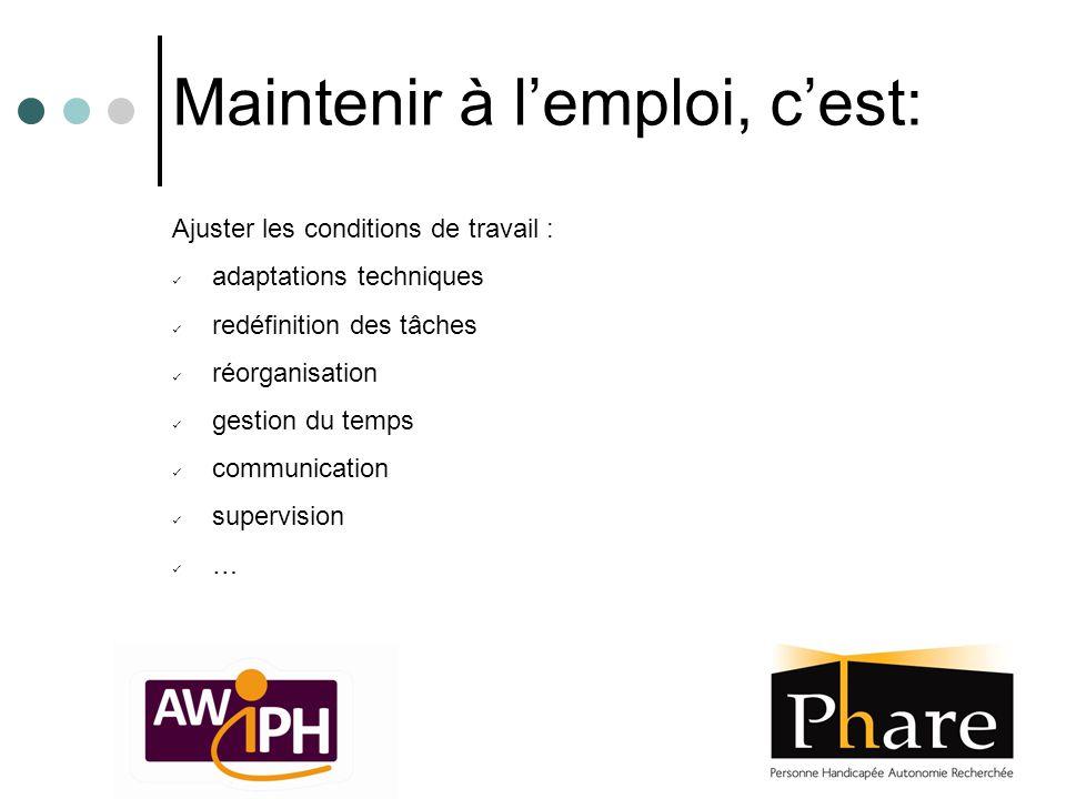 Maintenir à l'emploi, c'est: Ajuster les conditions de travail : adaptations techniques redéfinition des tâches réorganisation gestion du temps commun