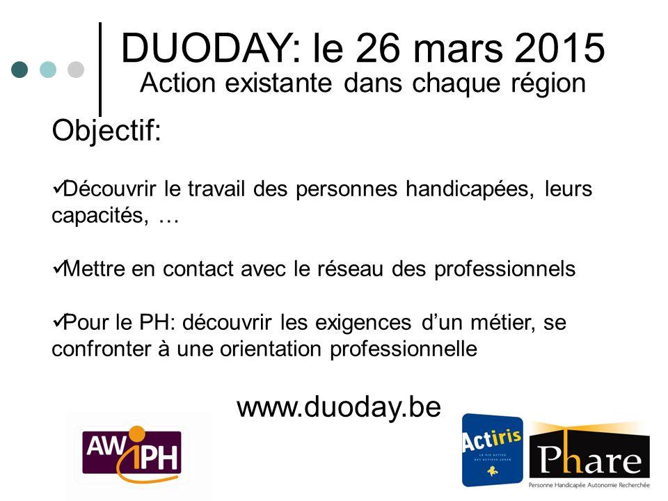 DUODAY: le 26 mars 2015 Action existante dans chaque région Objectif: Découvrir le travail des personnes handicapées, leurs capacités, … Mettre en con
