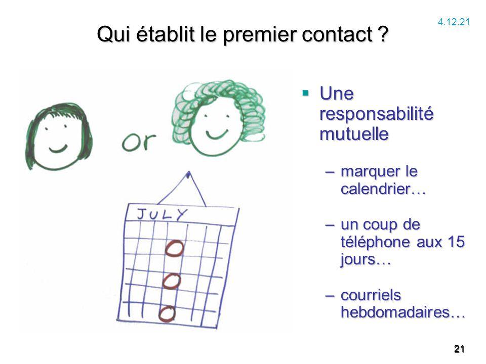 21 Qui établit le premier contact ?  Une responsabilité mutuelle –marquer le calendrier… –un coup de téléphone aux 15 jours… –courriels hebdomadaires