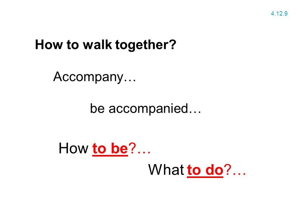 How to walk together Accompany… be accompanied… How to be … What to do … 4.12.9