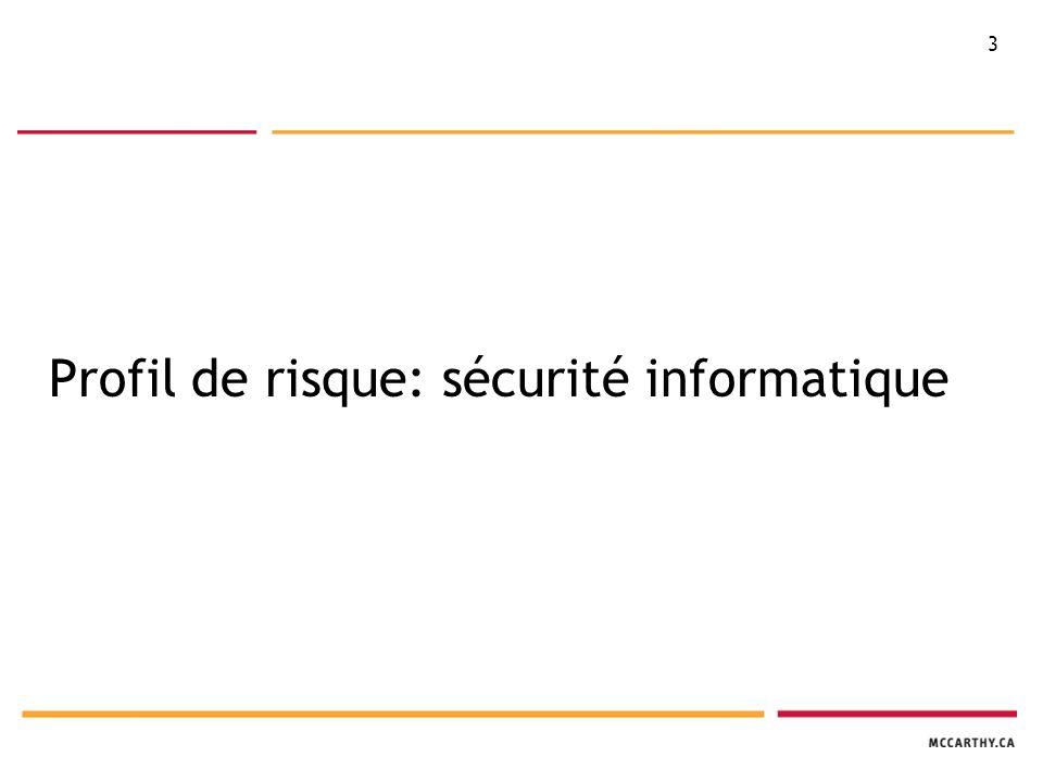14 LPRPDE 4.7 - Mesures de sécurité 4.7 : Les renseignements personnels doivent être protégés au moyen de mesures de sécurité correspondant à leur degré de sensibilité.