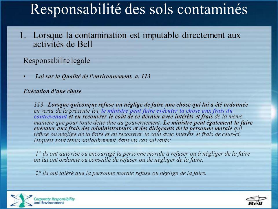 Responsabilité légale Loi sur la Qualité de l'environnement, a.