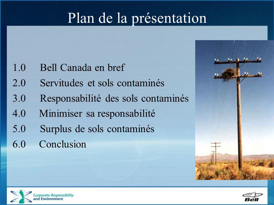 Plan de la présentation 1.0Bell Canada en bref 2.0Servitudes et sols contaminés 3.0 Responsabilité des sols contaminés 4.0 Minimiser sa responsabilité 5.0Surplus de sols contaminés 6.0 Conclusion