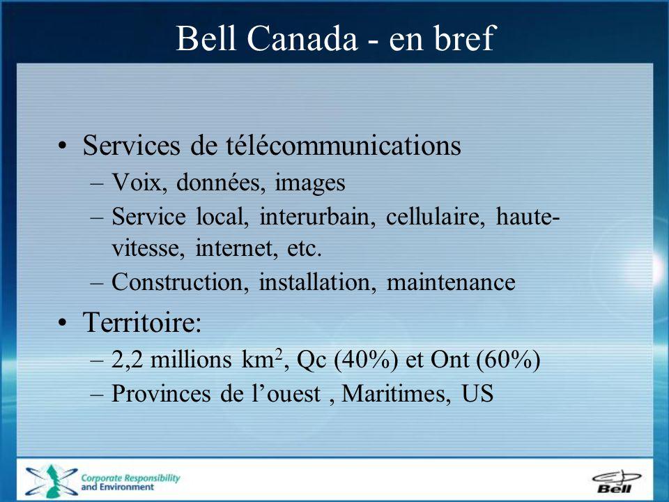 Services de télécommunications –Voix, données, images –Service local, interurbain, cellulaire, haute- vitesse, internet, etc.