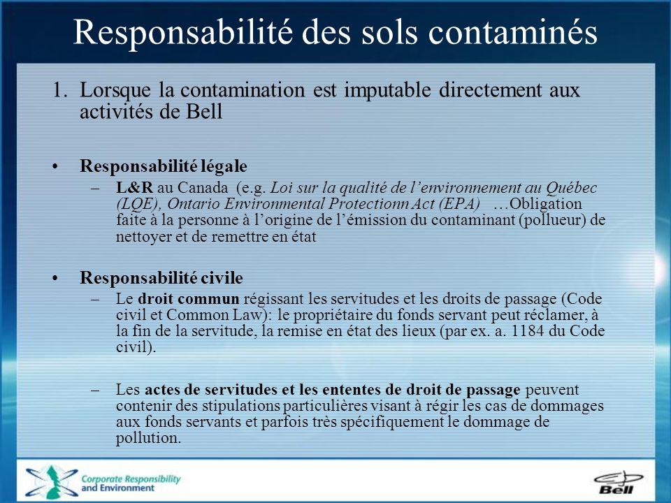 Surplus de sols contaminés - gestion Les sous contractants (i.e.