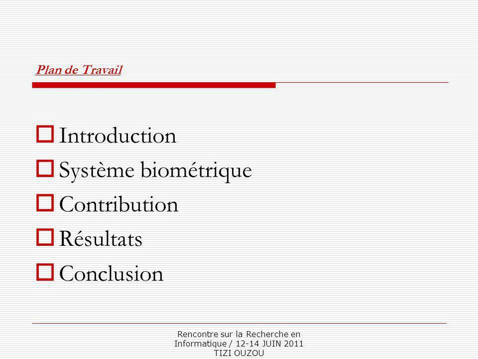Rencontre sur la Recherche en Informatique / 12-14 JUIN 2011 TIZI OUZOU Plan de Travail  Introduction  Système biométrique  Contribution  Résultats  Conclusion