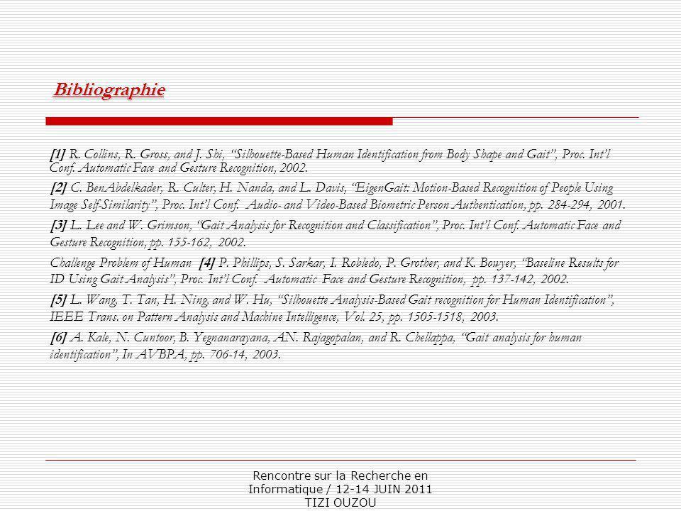"""Rencontre sur la Recherche en Informatique / 12-14 JUIN 2011 TIZI OUZOU [1] R. Collins, R. Gross, and J. Shi, """"Silhouette-Based Human Identification f"""