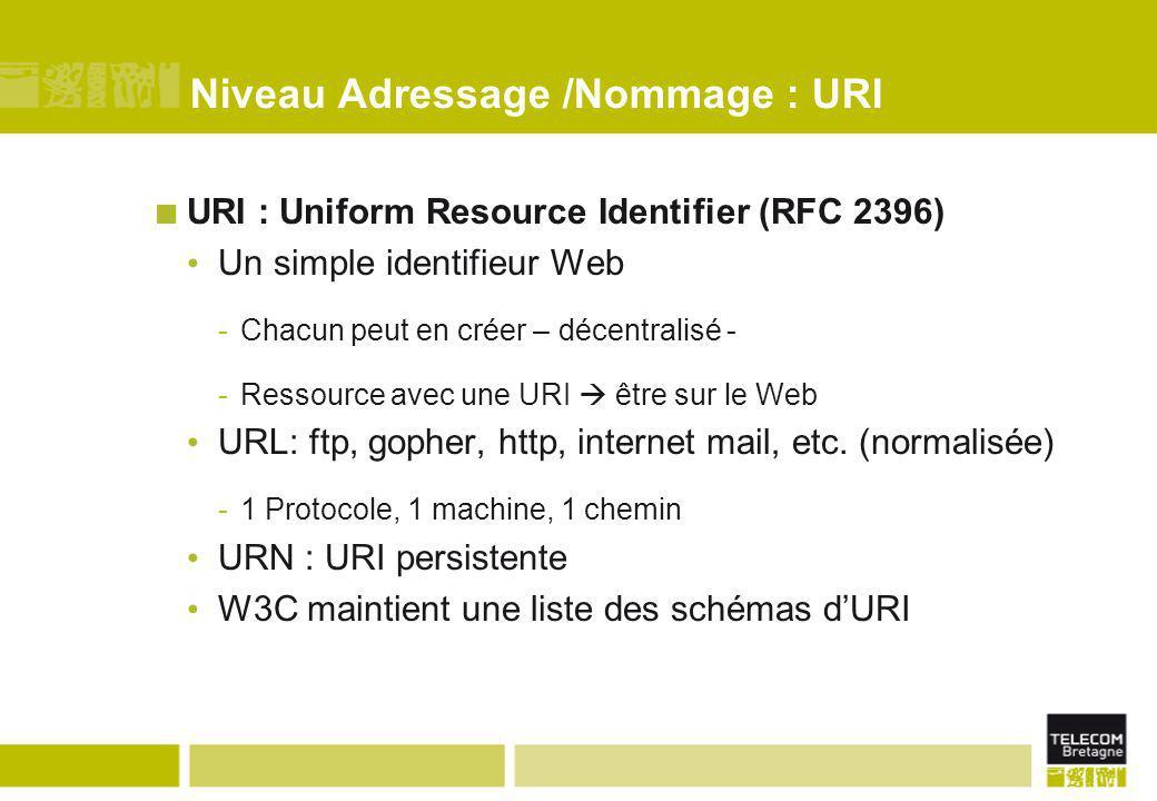 Niveau Adressage /Nommage : URI URI : Uniform Resource Identifier (RFC 2396) Un simple identifieur Web -Chacun peut en créer – décentralisé - -Ressou