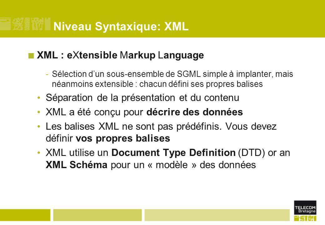Niveau Syntaxique: XML XML : eXtensible Markup Language -Sélection d'un sous-ensemble de SGML simple à implanter, mais néanmoins extensible : chacun d