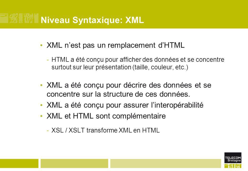 Niveau Syntaxique: XML XML n'est pas un remplacement d'HTML -HTML a été conçu pour afficher des données et se concentre surtout sur leur présentation