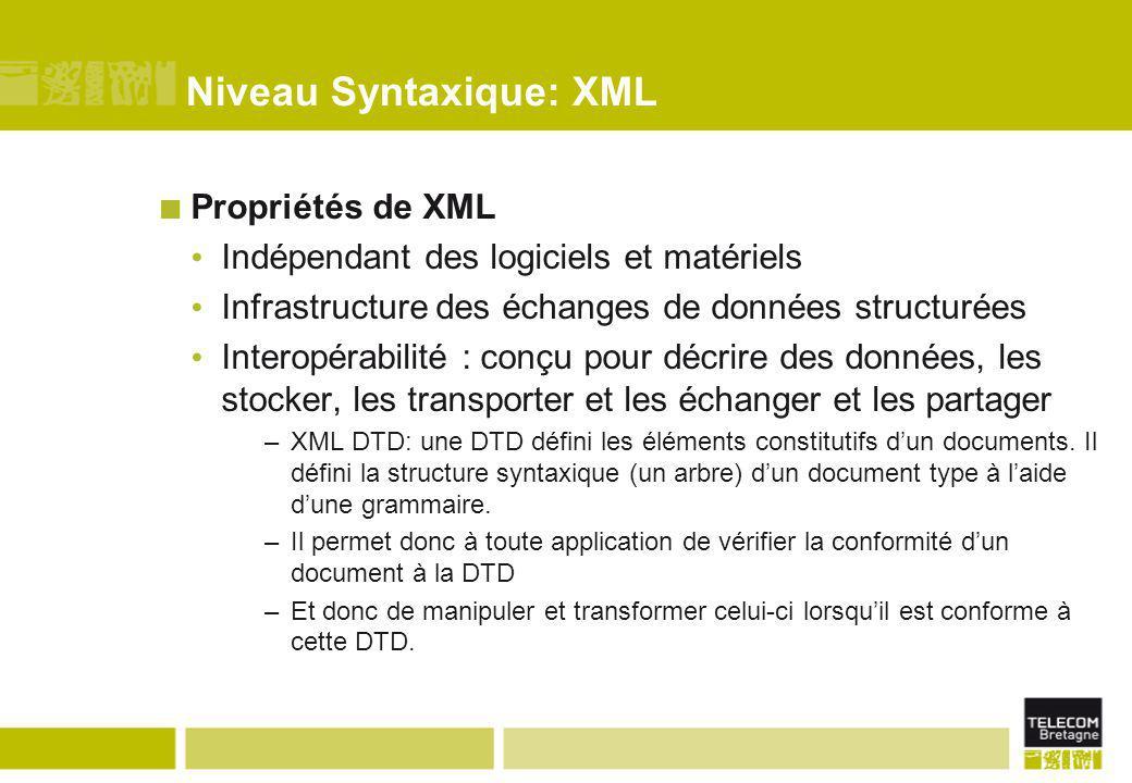 Niveau Syntaxique: XML Propriétés de XML Indépendant des logiciels et matériels Infrastructure des échanges de données structurées Interopérabilité :