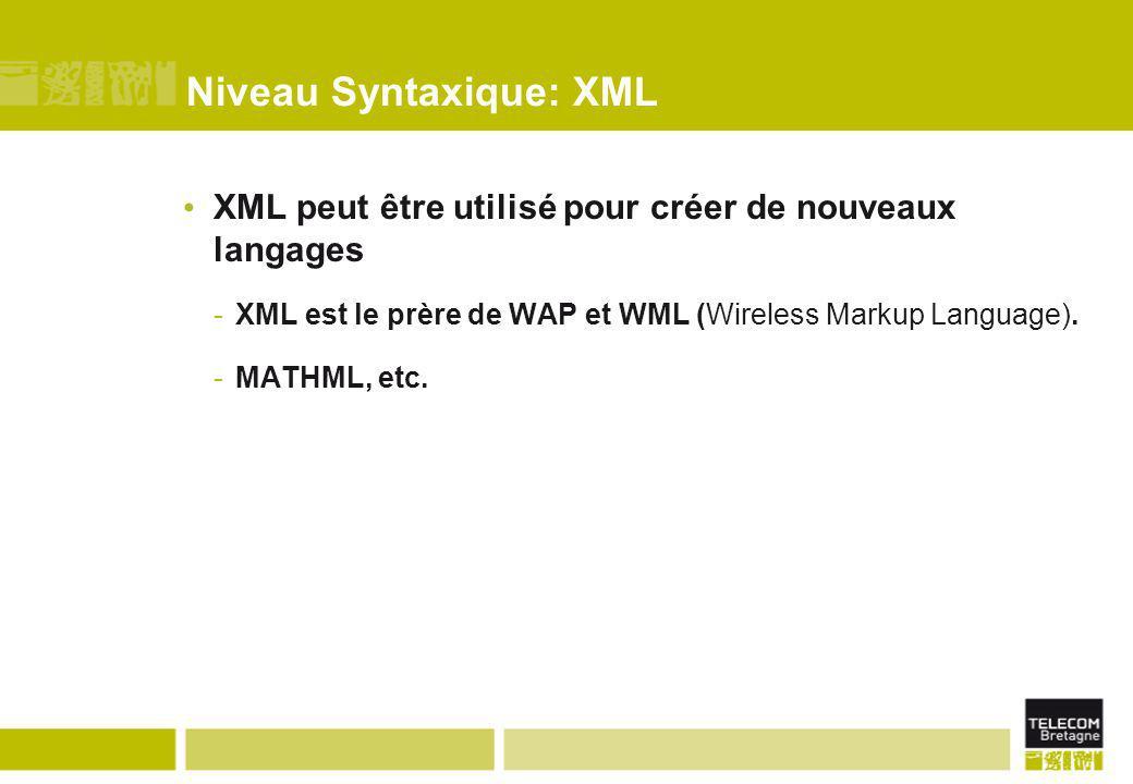 Niveau Syntaxique: XML XML peut être utilisé pour créer de nouveaux langages -XML est le prère de WAP et WML (Wireless Markup Language). -MATHML, etc.