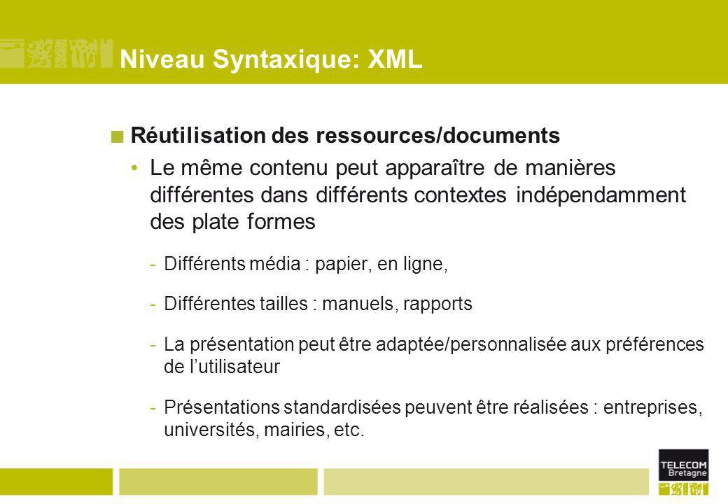 Niveau Syntaxique: XML Réutilisation des ressources/documents Le même contenu peut apparaître de manières différentes dans différents contextes indépe