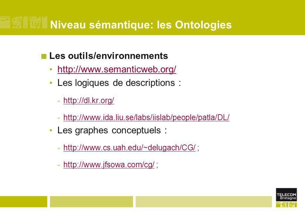 Niveau sémantique: les Ontologies Les outils/environnements http://www.semanticweb.org/ Les logiques de descriptions : -http://dl.kr.org/http://dl.kr.