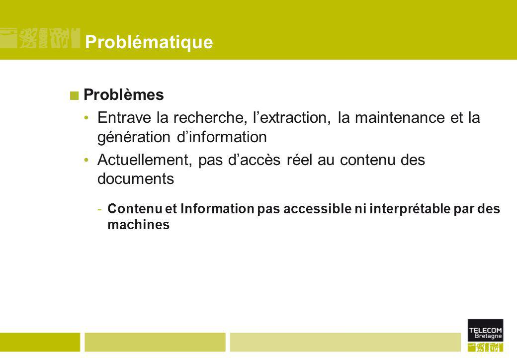 Problématique Problèmes Entrave la recherche, l'extraction, la maintenance et la génération d'information Actuellement, pas d'accès réel au contenu de