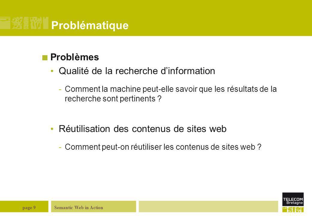 Semantic Web in Actionpage 9 Problématique Problèmes Qualité de la recherche d'information -Comment la machine peut-elle savoir que les résultats de l