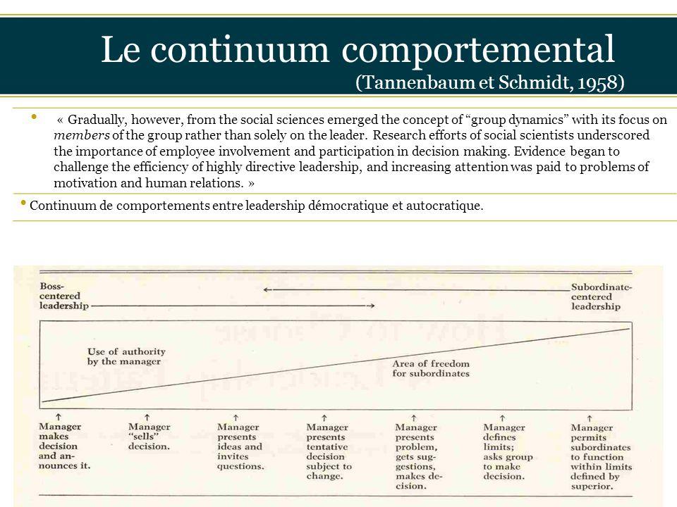 "Insérer titre ici Le continuum comportemental (Tannenbaum et Schmidt, 1958) « Gradually, however, from the social sciences emerged the concept of ""gro"