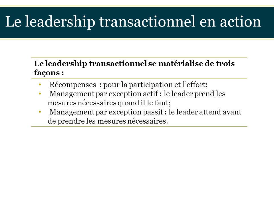 Insérer titre ici Le leadership transactionnel en action Le leadership transactionnel se matérialise de trois façons : Récompenses : pour la participa