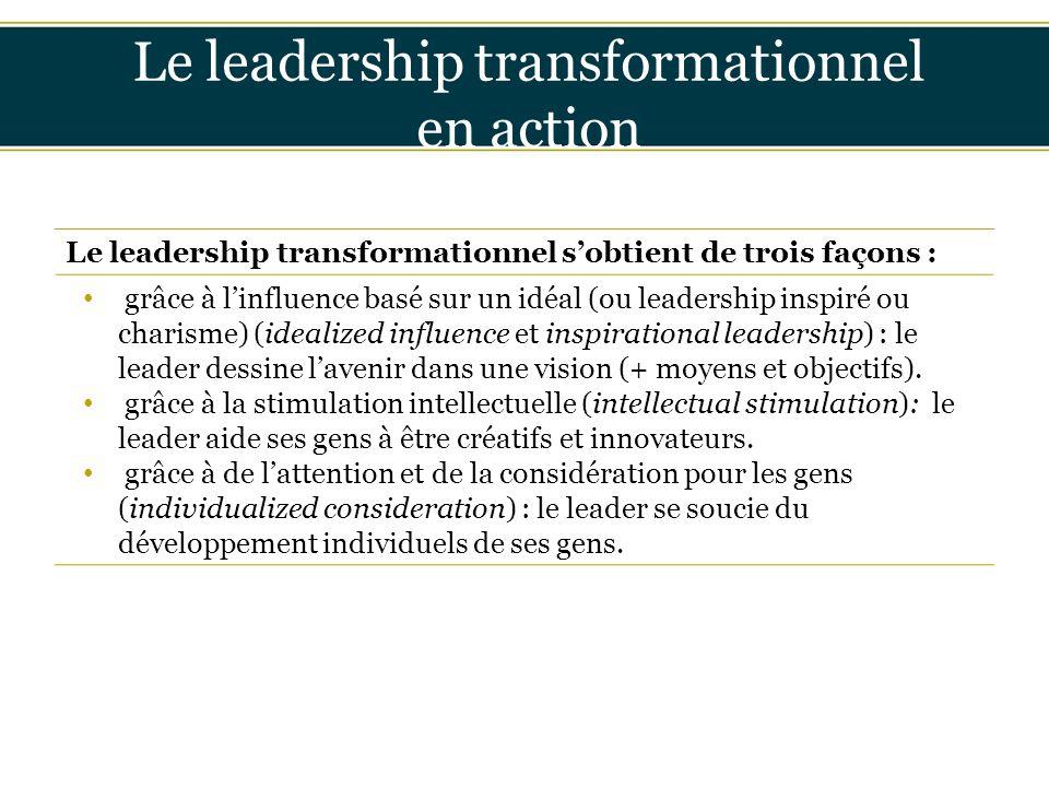 Insérer titre ici Le leadership transformationnel en action Le leadership transformationnel s'obtient de trois façons : grâce à l'influence basé sur u