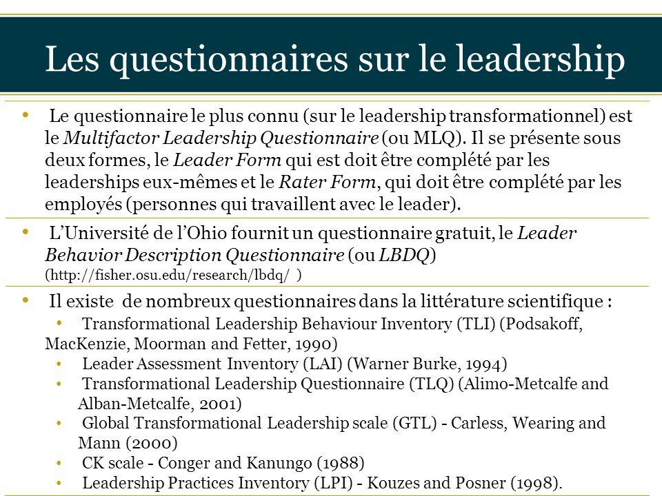 Insérer titre ici Les questionnaires sur le leadership Le questionnaire le plus connu (sur le leadership transformationnel) est le Multifactor Leaders