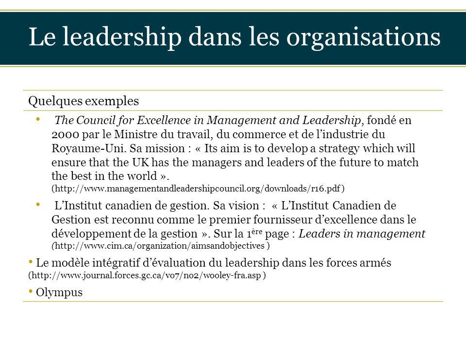 Insérer titre ici Le leadership dans les organisations Quelques exemples The Council for Excellence in Management and Leadership, fondé en 2000 par le