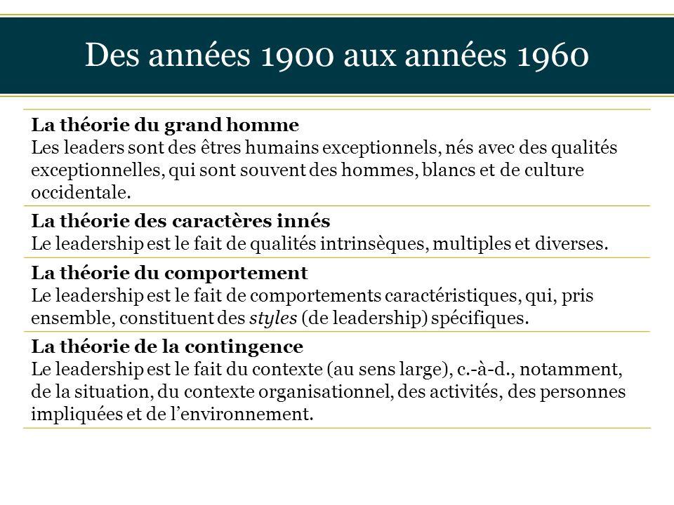 Insérer titre ici Des années 1900 aux années 1960 La théorie du grand homme Les leaders sont des êtres humains exceptionnels, nés avec des qualités ex