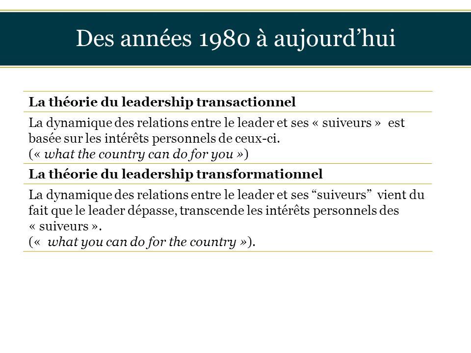 Insérer titre ici Des années 1980 à aujourd'hui La théorie du leadership transactionnel La dynamique des relations entre le leader et ses « suiveurs »