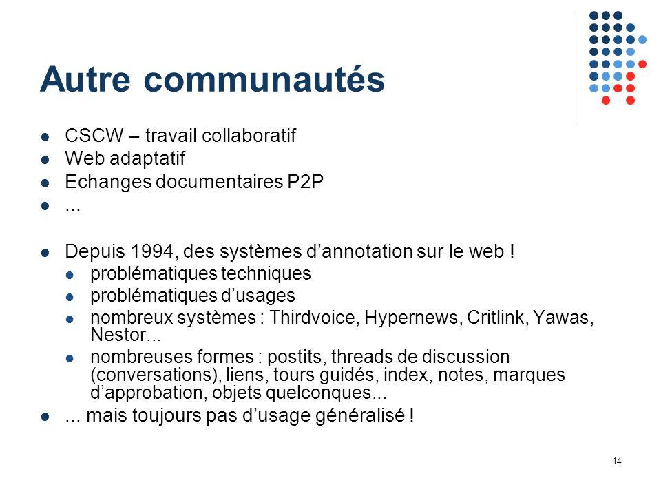 14 Autre communautés CSCW – travail collaboratif Web adaptatif Echanges documentaires P2P... Depuis 1994, des systèmes d'annotation sur le web ! probl