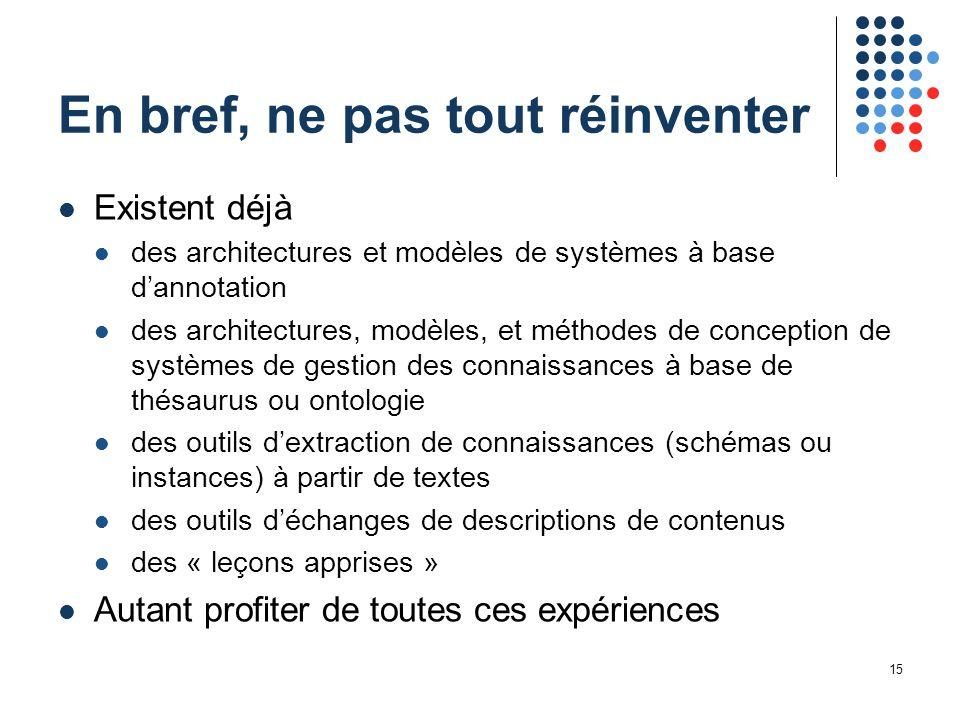 15 En bref, ne pas tout réinventer Existent déjà des architectures et modèles de systèmes à base d'annotation des architectures, modèles, et méthodes