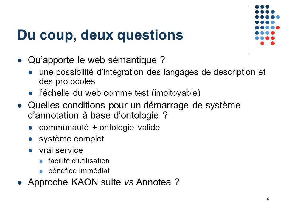 16 Du coup, deux questions Qu'apporte le web sémantique ? une possibilité d'intégration des langages de description et des protocoles l'échelle du web
